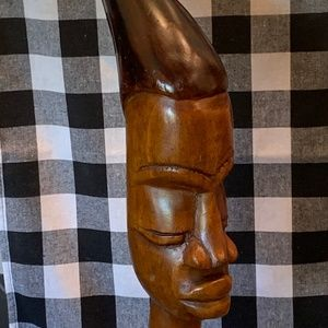 Magnificent African warrior wood bust, table art